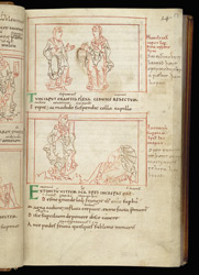 Coloured-Line Drawings Of Hope And Lowliness, In Prudentius, Psychomachia f.17r
